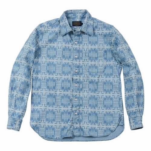 Discharge Print Denim Shirt Japan Fit